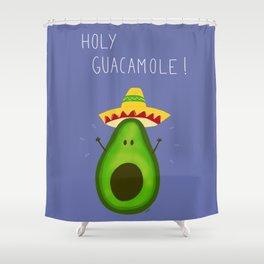Holy Guacamole, avocado with sombrero Shower Curtain