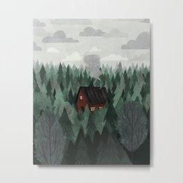 Cottage in the Woods Metal Print