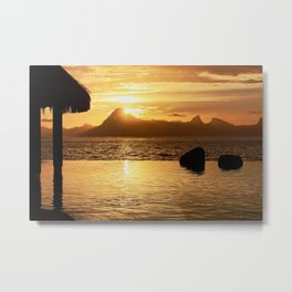 Rugged Island Sunset. Golden Paradise of Luxury Metal Print