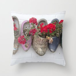 Dutch wooden shoes and geraniums from Marken, Holland Throw Pillow