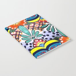 Colorful Talavera, Yellow Accent, Large, Mexican Tile Design Notebook