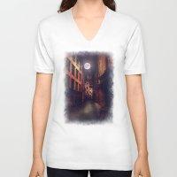 stockholm V-neck T-shirts featuring Gamla Stan, Stockholm. by Viviana Gonzalez