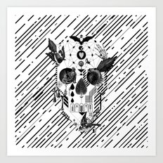 Abstract Skull B&W Art Print