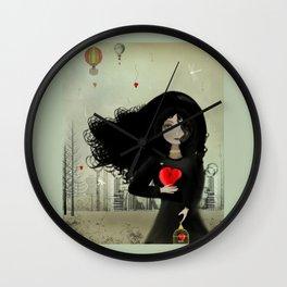 Dark Steampunk Valentine I Heart You Wall Clock