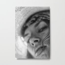 Happy woman face in summer hat close-up. Metal Print