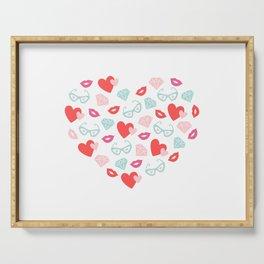 Valentines Day Heart #8 - Glasses, Diamonds, Kisses Serving Tray