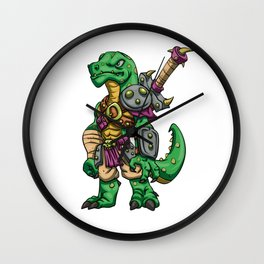 Lizard gladiator cartoon - dinosaur warrior illustration - tyrannosaurus character Wall Clock