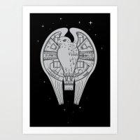 millenium falcon Art Prints featuring The REAL Millenium Falcon by Scott Neilson