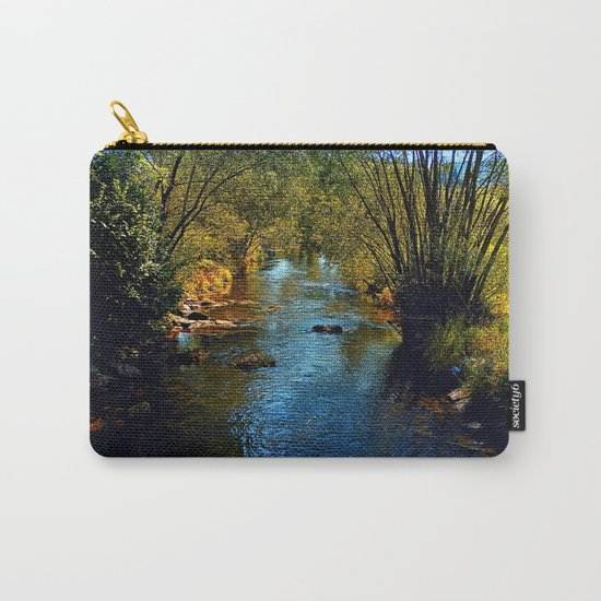 Vibrant river in autumn season Carry-All Pouch
