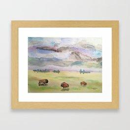 """Three Bison"" Framed Art Print"