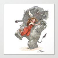 bouletcorp Canvas Prints featuring Elephant Hug by Bouletcorp