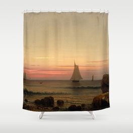 Off the Coast of Watch Hill, Rhode Island by Martin Johnson Heade Shower Curtain
