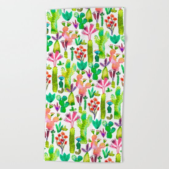 Cacti garden Beach Towel