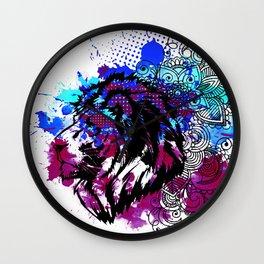 Purple Lion Spirit Wall Clock