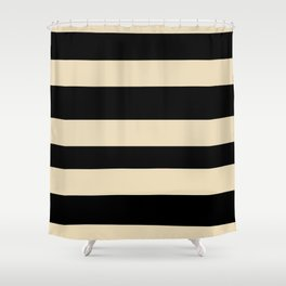 Valspar America Wood Yellow - Homey Cream - Glow Home Hand Drawn Fat Horizontal Stripes on Black Shower Curtain