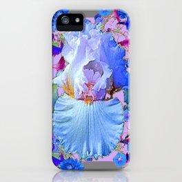 PASTEL IRIS & BLUE  FLOWERS  GREY PATTERNS ART iPhone Case