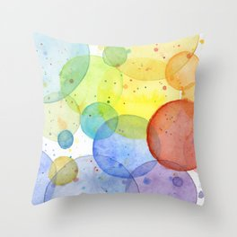 Watercolor Abstract Rainbow Circles and Splatters Throw Pillow