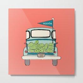 Watermelon Truck on Pink Metal Print