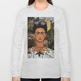 Frida Kahlo Self Portrait with a Sloth Long Sleeve T-shirt
