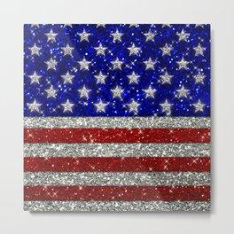 Glitter Sparkle American Flag Pattern Metal Print