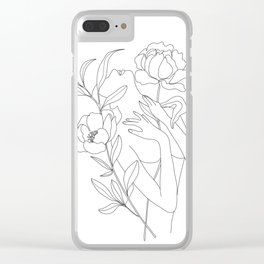 Minimal Line Art Woman with Peonies Clear iPhone Case