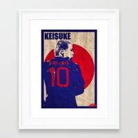 honda Framed Art Prints featuring keisuke honda by John Sideris
