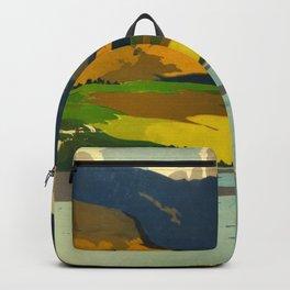 Loch Awe Vintage Mid Century Art Travel Poster British Railways Colorful Landscape Backpack