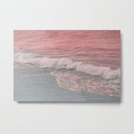 Pink Waves Beach Metal Print