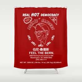 Bernie Sanders Sriracha Style Feel The Bern Shower Curtain