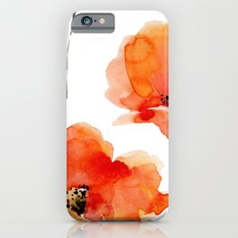 Modern hand painted orange watercolor poppies pattern iPhone Case
