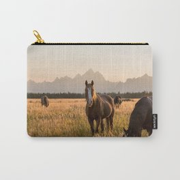 Horses Grazing Below the Tetons Carry-All Pouch