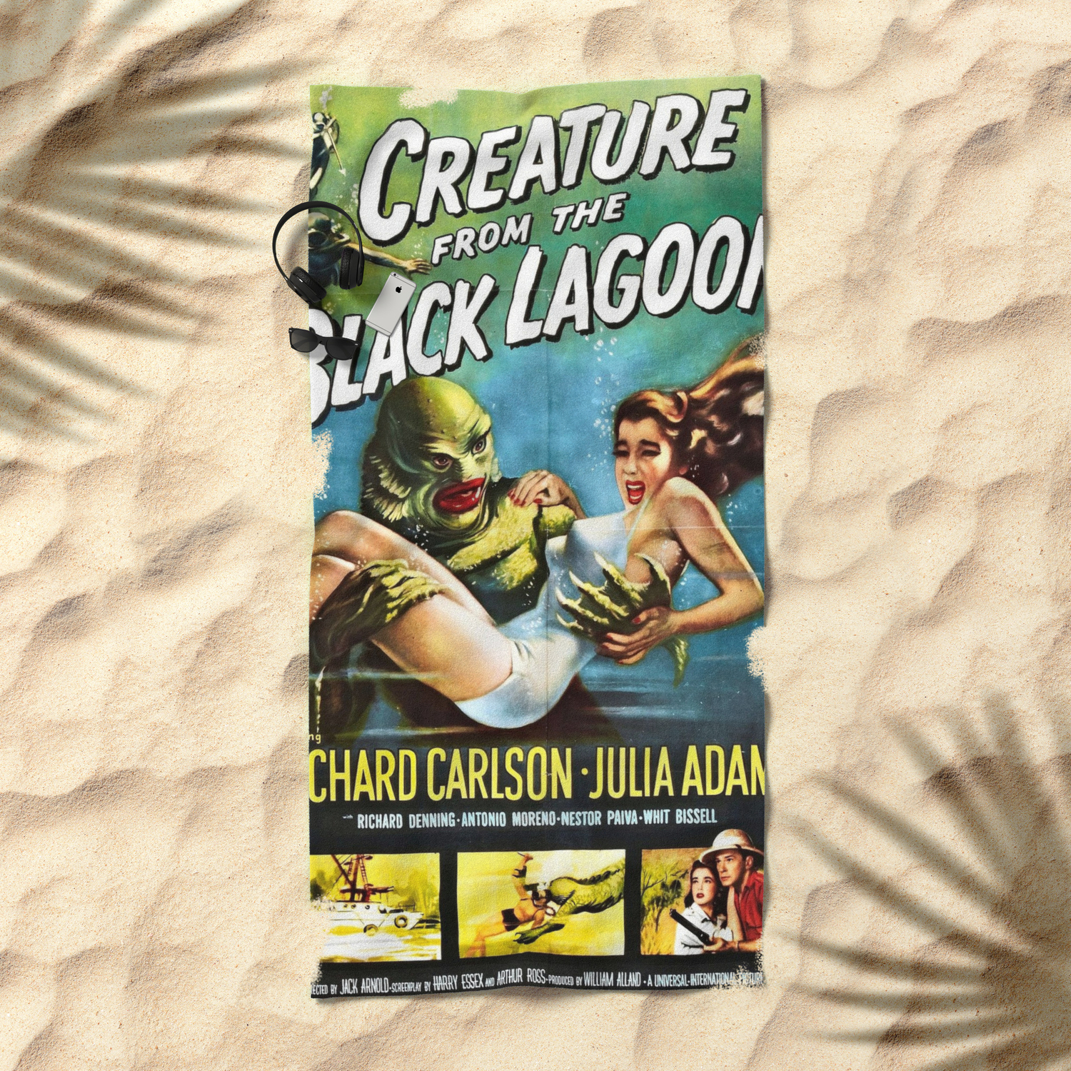 Creature From The Black Lagoon Vintage Horror Movie Poster Beach Towel