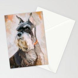 Mini Schnauzer in Autumn Dog Portrait Painting Stationery Cards