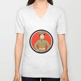 World War One British Officer Standing Circle Cartoon  Unisex V-Neck