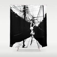 minima - beta bunny / noir Shower Curtain