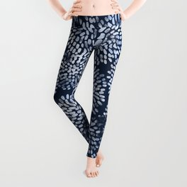 Abstract Navy Watercolor Line Flowers Leggings