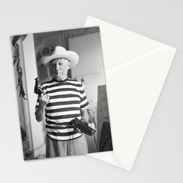 Pablo Picasso With A Gun, home decor , vintage photography, icon , print, photography, wall art, famous artist , Stationery Cards