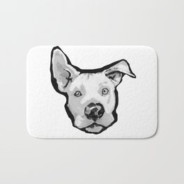RESCUE ME Pit Bull Pitbull Dog Pop Art black and White Painting by LEA Bath Mat