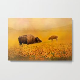 Bison Dad and Baby in Sunflowers Metal Print