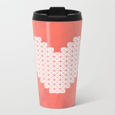 Heart X Red Metal Travel Mug