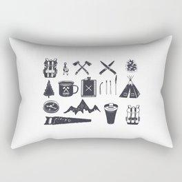 Bushcraft Icons and Hiking Symbols Rectangular Pillow