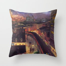 Classical Masterpiece 'The City from Greenwich Village' New York City by John French Sloan Throw Pillow