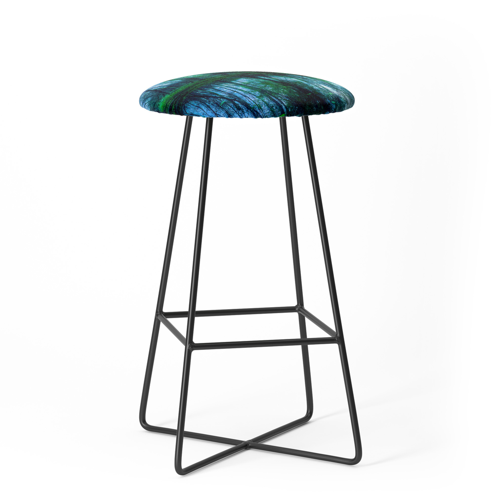 Enchanted Forest Lake Green Blue Bar Stool by vintageby2sweet