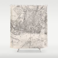 poland Shower Curtains featuring Vintage Map of Warsaw Poland (1836) by BravuraMedia