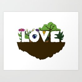 Love for Nature in Negative Space Art Print