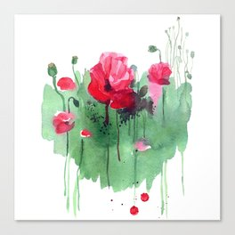 Watercolor hand drawn poppies on green heart background. Canvas Print