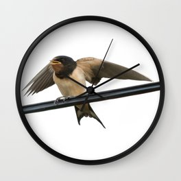 Swallow On A Wire Vector Wall Clock