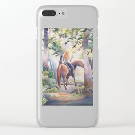 Quiet Woodland Horse Ride Clear iPhone Case
