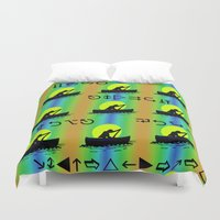 rowing Duvet Covers featuring Keep Rowing Your Boat MF by Trippin Up