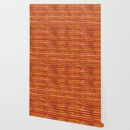 Geometric Lines Tribal  gold on red leather Wallpaper